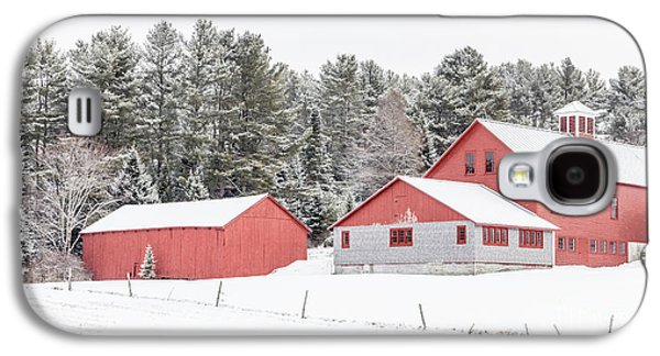 New England Farm With Red Barns In Winter Galaxy S4 Case by Edward Fielding