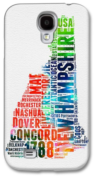 New Hampshire Watercolor Word Map Galaxy S4 Case by Naxart Studio