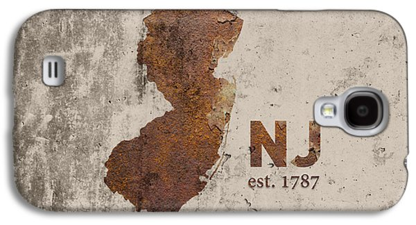 New Jersey State Map Industrial Rusted Metal On Cement Wall With Founding Date Series 026 Galaxy S4 Case by Design Turnpike
