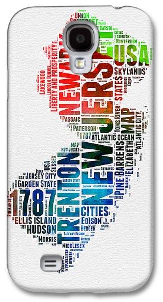New Jersey Watercolor Word Cloud  Galaxy S4 Case by Naxart Studio