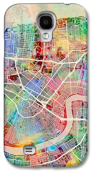New Orleans Street Map Galaxy S4 Case by Michael Tompsett