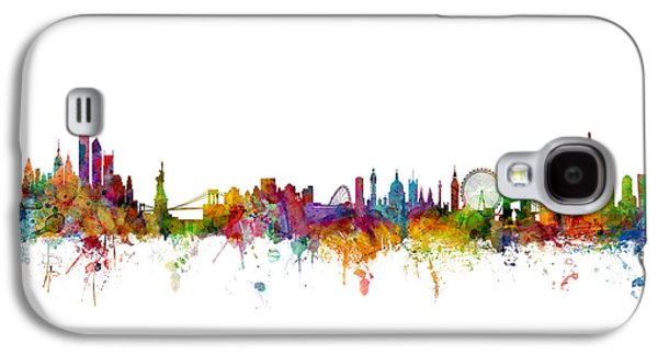 New York And London Skyline Mashup Galaxy S4 Case by Michael Tompsett