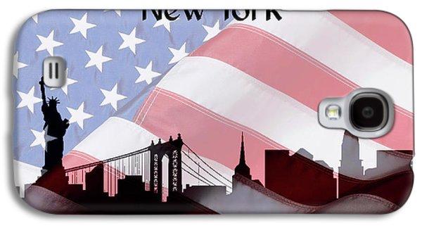 New York City Skyline American Flag Galaxy S4 Case