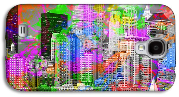 New York City Skyline Paint Splatters Pop Art Galaxy S4 Case