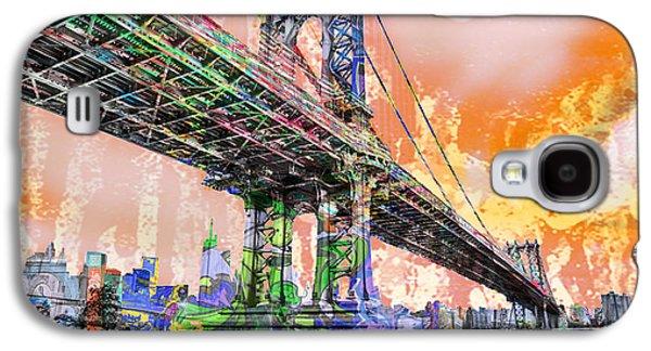 New York City Manhattan Bridge Gold Galaxy S4 Case by Tony Rubino