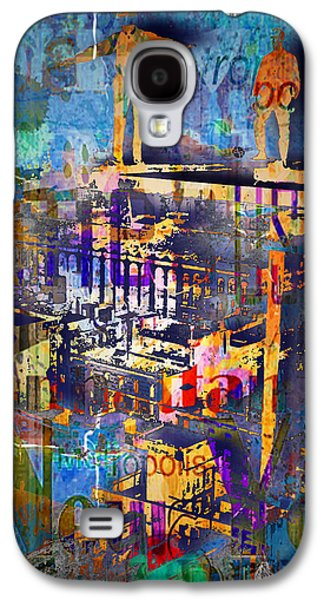 New York Men On Unfinished Skyscraper Blue Galaxy S4 Case by Tony Rubino