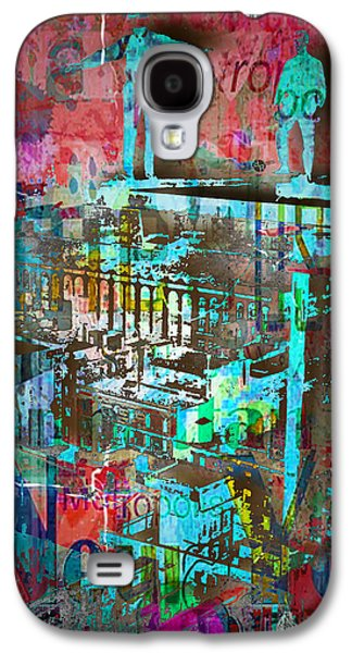 New York Men On Unfinished Skyscraper Red Galaxy S4 Case by Tony Rubino
