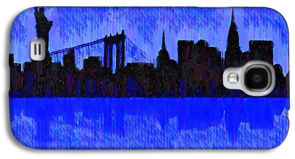 New York Skyline Silhouette Blue - Pa Galaxy S4 Case by Leonardo Digenio