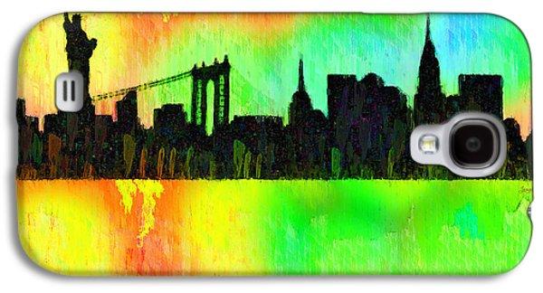 New York Skyline Silhouette Colorful - Da Galaxy S4 Case by Leonardo Digenio