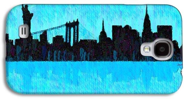 New York Skyline Silhouette Cyan - Pa Galaxy S4 Case by Leonardo Digenio