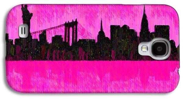 New York Skyline Silhouette Pink - Pa Galaxy S4 Case by Leonardo Digenio