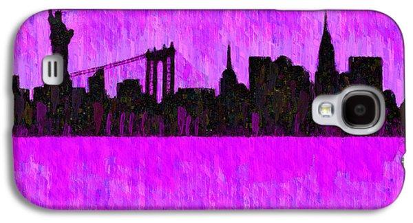 New York Skyline Silhouette Purple - Da Galaxy S4 Case by Leonardo Digenio