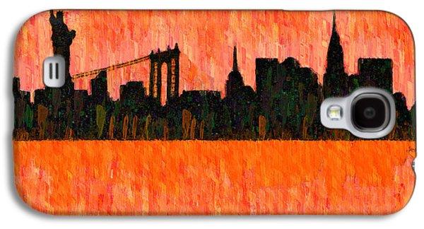 New York Skyline Silhouette Red - Pa Galaxy S4 Case by Leonardo Digenio