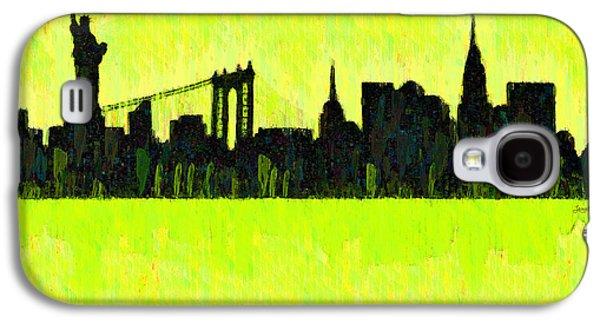 New York Skyline Silhouette Yellow-green - Da Galaxy S4 Case by Leonardo Digenio