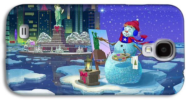 New York Snowman Galaxy S4 Case by Michael Humphries