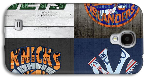 New York Sports Team Logo License Plate Art Jets Islanders Knicks Yankees V5 Galaxy S4 Case