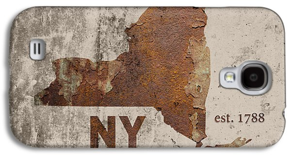 New York State Map Industrial Rusted Metal On Cement Wall With Founding Date Series 001 Galaxy S4 Case by Design Turnpike