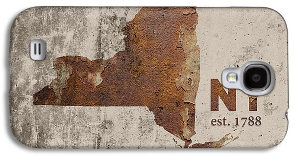 New York State Map Industrial Rusted Metal On Cement Wall With Founding Date Series 025 Galaxy S4 Case