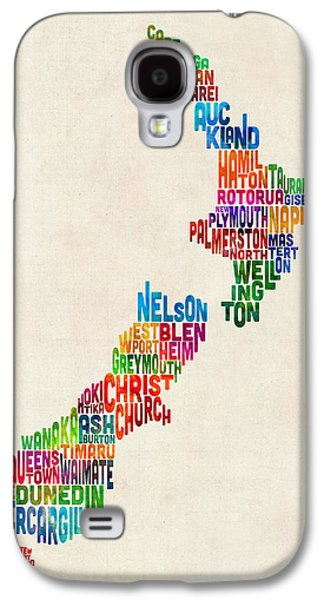 New Zealand Typography Text Map Galaxy S4 Case