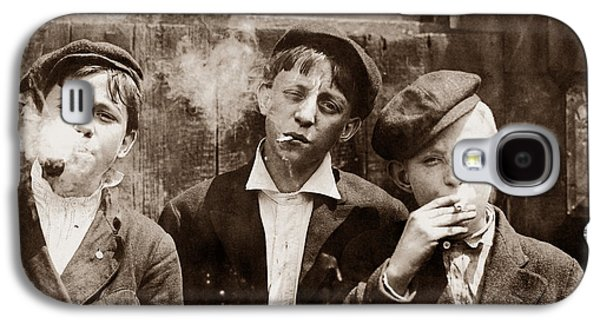 Newsboys Smoking - 1910 Child Labor Photo Galaxy S4 Case by War Is Hell Store
