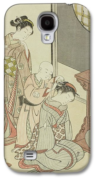 Night Rain Of The Tea Stand Galaxy S4 Case by Suzuki Harunobu