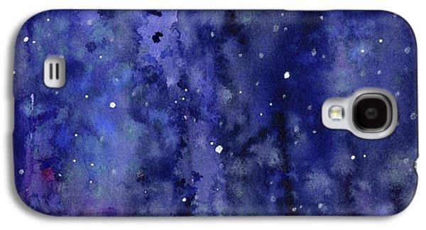 Night Sky Watercolor Galaxy Stars Galaxy S4 Case by Olga Shvartsur