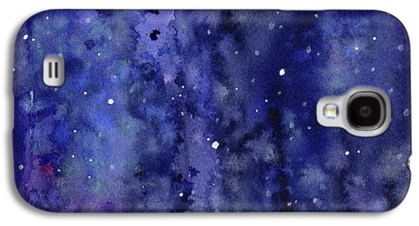 Night Sky Watercolor Galaxy Stars Galaxy S4 Case by Olga Shvartsur