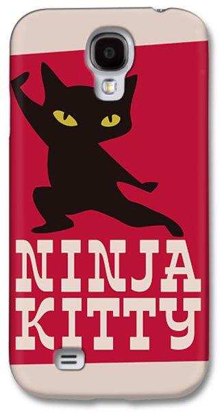 Ninja Kitty Retro Poster Galaxy S4 Case by Monkey Crisis On Mars