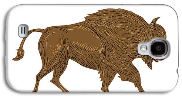 North American Bison Buffalo Charging Retro Galaxy S4 Case