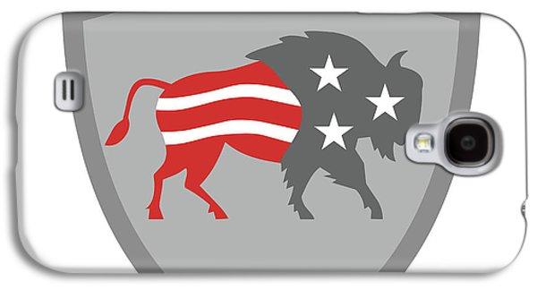 North American Bison Usa Flag Shield Retro Galaxy S4 Case