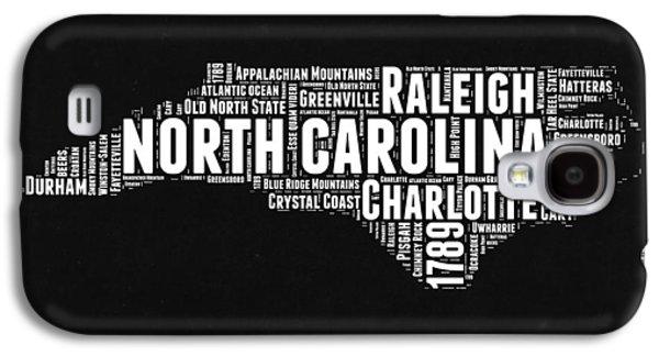 North Carolina Black And White Word Cloud Map Galaxy S4 Case by Naxart Studio