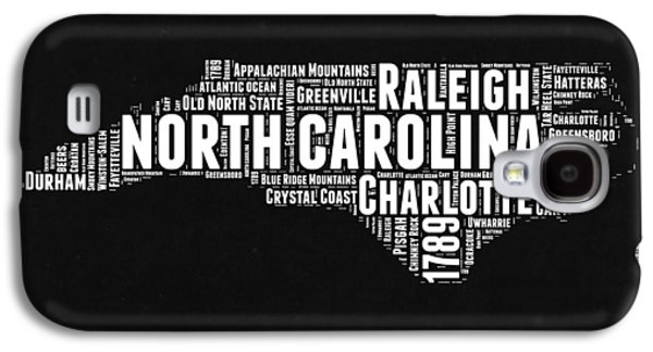 North Carolina Black And White Word Cloud Map Galaxy S4 Case by Naxart Studio
