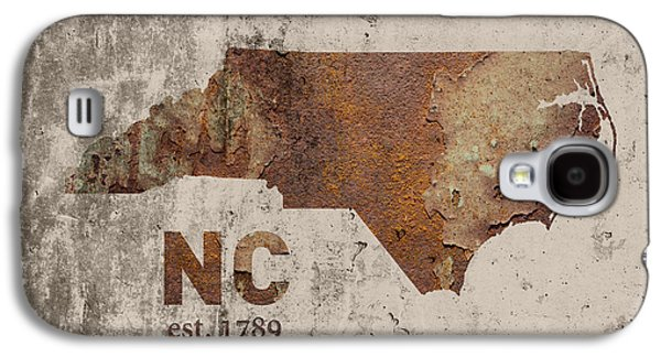 North Carolina State Map Industrial Rusted Metal On Cement Wall With Founding Date Series 022 Galaxy S4 Case by Design Turnpike