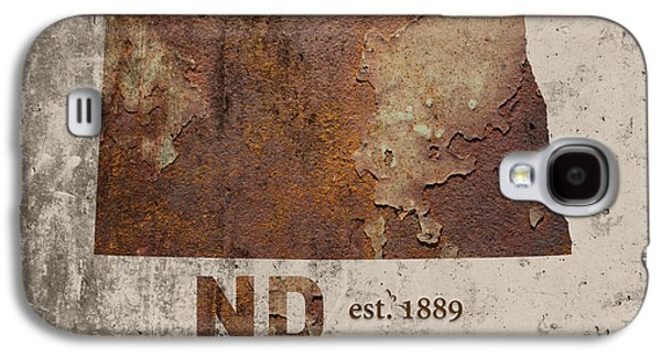 North Dakota State Map Industrial Rusted Metal On Cement Wall With Founding Date Series 025 Galaxy S4 Case by Design Turnpike