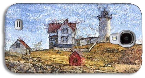 Nubble Light Cape Neddick Lighthouse Sohier Park York Maine Pencil Galaxy S4 Case by Edward Fielding