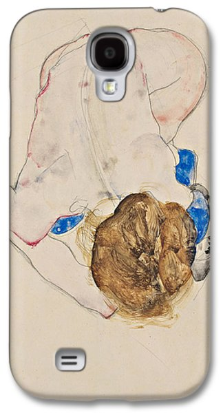 Nude With Blue Stockings, Bending Forward Galaxy S4 Case by Egon Schiele