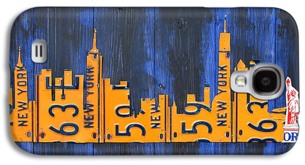 Nyc New York City Skyline With Lady Liberty And Freedom Tower Recycled License Plate Art Galaxy S4 Case