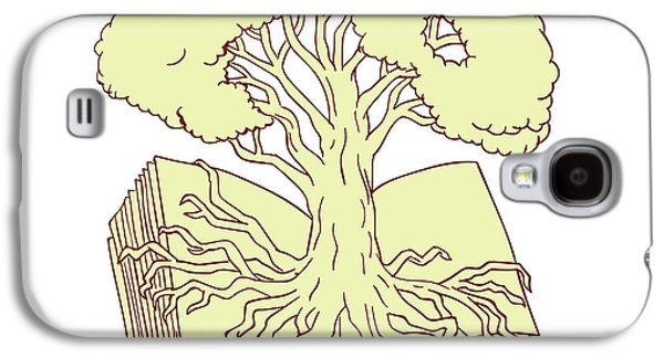 Oak Tree Rooted On Book Drawing Galaxy S4 Case