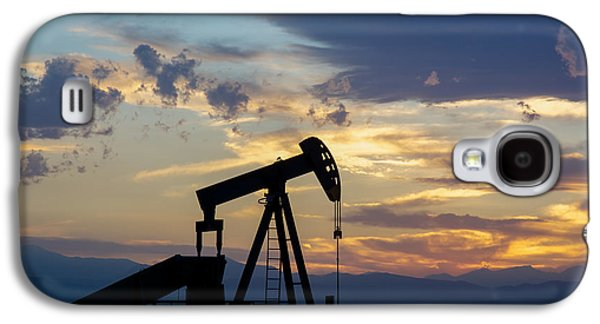 Oil Well Pump Silhouette  Galaxy S4 Case by Aaron Spong