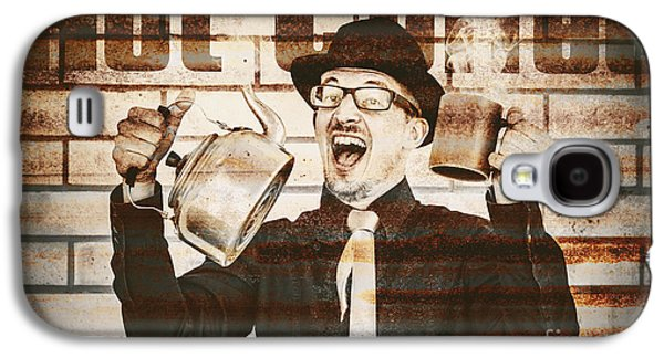Old Fashioned Gent Cheering To Hot Coffee Galaxy S4 Case by Jorgo Photography - Wall Art Gallery