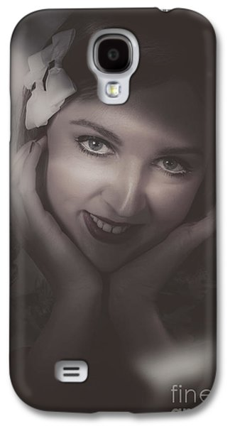 Old Film Noir Photo On The Face Of A 1920s Lady Galaxy S4 Case