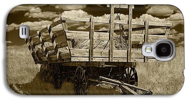 Old Hay Wagon In Sepia Galaxy S4 Case by Randall Nyhof