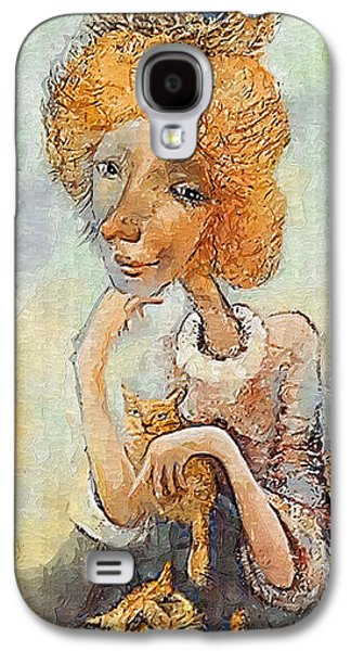 Animation Galaxy S4 Cases - Old Lady with Cats Galaxy S4 Case by Art4sale