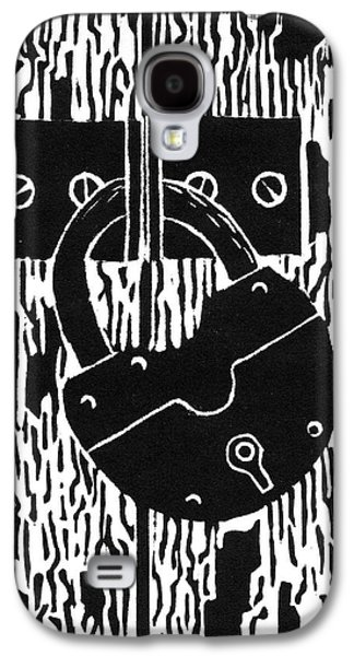 Old Lock And Cracked Paint Linocut Galaxy S4 Case by Ed Einboden
