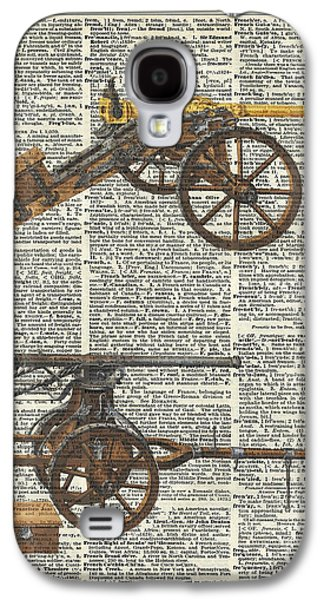 Old Military Cannons Over Dictionary Book Page Galaxy S4 Case by Jacob Kuch