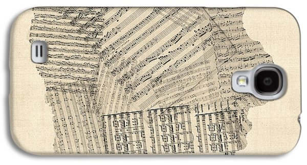 Old Sheet Music Map Of Iowa Galaxy S4 Case by Michael Tompsett