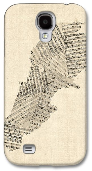Old Sheet Music Map Of Lebanon Galaxy S4 Case by Michael Tompsett