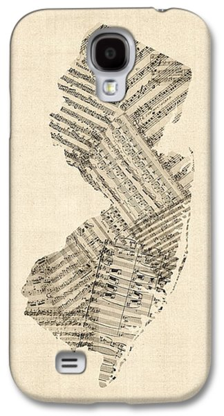 Old Sheet Music Map Of New Jersey Galaxy S4 Case by Michael Tompsett