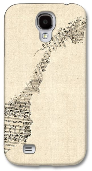 Old Sheet Music Map Of Norway Galaxy S4 Case by Michael Tompsett