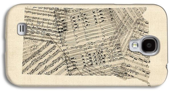 Old Sheet Music Map Of South Dakota Galaxy S4 Case by Michael Tompsett